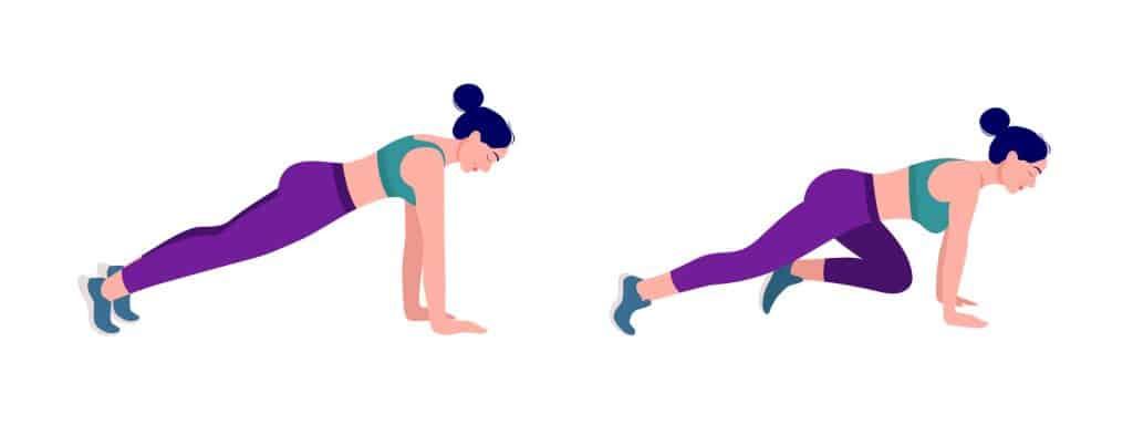 Vježbe za razgibavanje primicanje koljena sklek